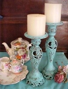 Turquoise Aqua Teal Shabby Chic Candle stands Shabby Chic Lanterns, Shabby Chic Candlesticks, Shabby Chic Candle Holders, Shabby Chic Lighting, Vintage Candle Holders, Candlestick Holders, Painted Candlesticks, Candleholders, Shabby Chic Bedrooms