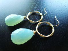 Aqua Chalcedony Earrings - Blue Hoop Wire Wrapped Gemstone Earrings- Matte Gold. etsy