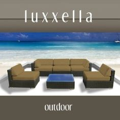 LOVE THEIR STUFF!!   Luxxella Outdoor Patio Couch Wicker Furniture 6pc All Weather Sofa Bella 6 Set DARK BEIGE