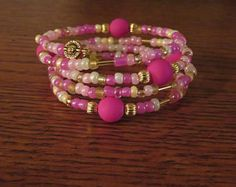 Multiple Shades of Pink Memory Wire Bracelet, Gold accents Memory Wire Jewelry, Memory Wire Bracelets, Wrap Bracelets, Gemstone Bracelets, Boho Jewelry, Jewelry Crafts, Gemstone Jewelry, Jewlery, Unique Jewelry