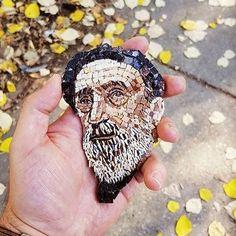 Author Mirko Cetkovic,from Serbia,mini-mosaics. Mosaic Portrait, Mosaic Art, Face Art, Fused Glass, Glass Art, Stone, Artist, Mad, Author