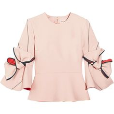 Roksanda Kemi bow-embellished crepe top ($1,150) ❤ liked on Polyvore featuring tops, pastel pink, cut-out crop tops, roksanda top, light pink crop top, knotted crop top and roksanda
