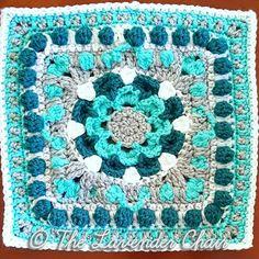 "Compass Mum Mandala 12"" Square - free crochet pattern at The Lavender Chair. Mandala Blanket CAL Square no.16"
