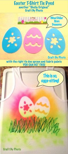 Easter T-Shirt Tie Dyed. could do this with any shape really!