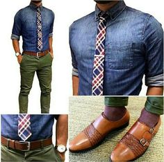 """Today's fit plaid your denim Bringin you more of that """"smart casual"""" office vibe that combines both laid back casual with 9 to 5 business… Pantalon Vert Olive, Smart Casual Office, Mode Man, School Looks, Business Casual Outfits, Mens Fashion Suits, Dress For Success, Office Fashion, Gentleman Style"""