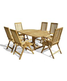 Take a look at this Seven-Piece Teak Outdoor Dining Set by Lookboard on #zulily today! $1700 !!