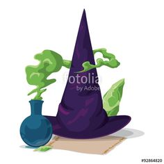 Vector: Pointy Witch Hat with Magic Alchemy Potion and Stone, Vector Illustration