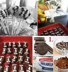 For a sports themed birthday party, I made these sporty oreo treats.. There are white chocolate dipped chocolate oreos on sticks. Such a great treat for kids, easy to carry and no chocolate covered fingers.  The second oreo treat I have here are oreo footballs! This is one of my favorite easy recipes.. and I just change the shape of the balls depending on the theme of the event :) Heres the recipe for these heavenly treats..  1. Blend one package of oreos in a food processor till it is f
