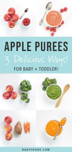 Apple Baby Puree 3 Delicious Ways! Using apples as the base ingredient, you can make these 3 different homemade baby food purees by adding in a couple of o Baby Puree Recipes, Pureed Food Recipes, Baby Food Recipes, Dinner Recipes, Apple Baby Food, Food Baby, Carrot Baby Puree, Healthy Baby Food, Baby First Foods