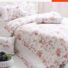White Romance Ruffle Ruched Duvet Cover Set