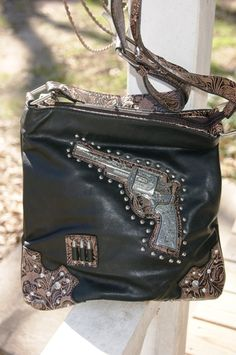 Cowgirl Outlaw Pistol Messenger Bag