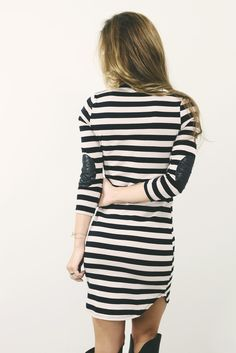 Monticello Mansion Black & Taupe Striped Dress With Elbow Patches