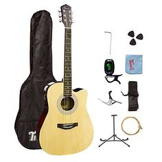 41 Inch Dreadnought Acoustic Cutaway Guitar With Gig Bag,Tuner,Strap, Picks,Extra String,Harmonica,Gloss Black