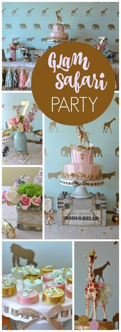 Glam + safari = a stunning party! See more party ideas at CatchMyParty.com!