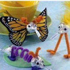 Candy Kiss Butterfly and Katerpillar Craft