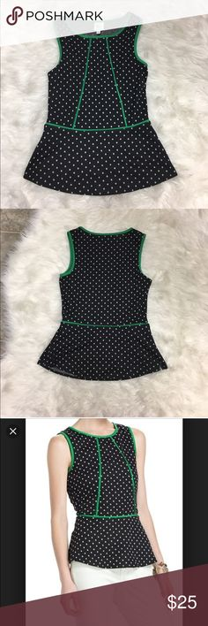 {Anthropologie} Western Wear Bloomfall tank Adorable peplum black with white polka dots and kelly green trim, very flattering fit. Anthropologie Tops Tank Tops