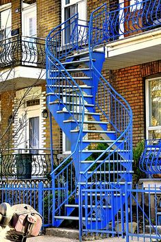 Blue curvy staircase, Montreal