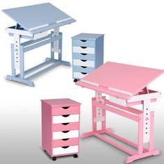 infantastic® | Kinderschreibtisch in blau oder weiß mit oder ohne Rollcontainer | children desk in rose and blue with or without chest of drawers | Jago24 (KDST01/KDST01-SET)