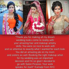 great vancouver wedding A Testimonial from our gorgeous bride Kamaljit from NewYork City! Thank you so much Kamaljit for sharing these lovely words with us. Love this job!! 2015 BC Wedding Award Winner @salonpicasso Salon Picasso Bridal Studio/Location: Surrey, BC Best South Asian Bride Hair & Makeup _______________________________________________ Now taking bridal bookings for 2016-2017!Award winning Salon & Bridal Studio! 16 +years of Professional Experience! For rates...