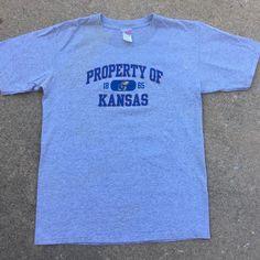 Kansas Jayhawks Heather Gray - Property of Kansas NCAA College t-shirt Sz S #Kansas #KansasJayhawks