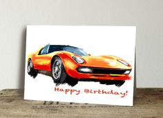 Excited to share this item from my #etsy shop: Lamborghini Miura Birthday Card. Thank you card. Customize your card, valentines day card, automotive enthusiast card, , set of 10 cards