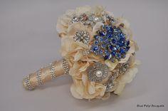 Something Blue Brooch Bouquet:) #wedding #bouquet