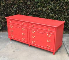 Painted an old mid-century modern dresser this color. Still unsure about it. Considering painting the drawer pulls (built in, not hardware) gold. Refurbished Furniture, Painted Furniture, Home Furniture, Regency Furniture, Painted Dressers, Furniture Buyers, Colorful Dresser, Colorful Furniture, Cheap Furniture Online