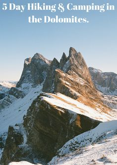 Winter hiking and camping in the Dolomites in Winter.