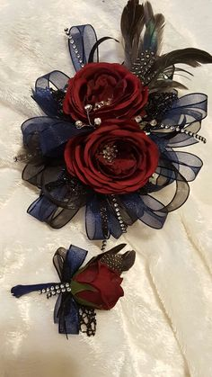 Navy and black corsage set from Hen House Designs www.henhousedesigns.net