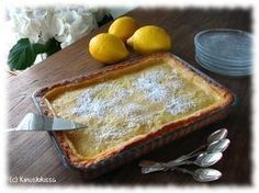 My favorite lemon pie (recipe only in Finnish) Nopea sitruunatorttu Baking Recipes, Cake Recipes, Dessert Recipes, Lemon Pie Recipe, Finnish Recipes, Delicious Desserts, Yummy Food, Sweet Pastries, Sweet Pie