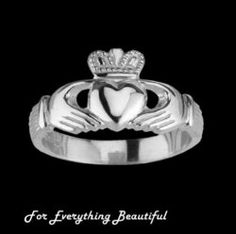 Claddagh Wide Heavy Sterling Silver Ladies Ring Wedding Band