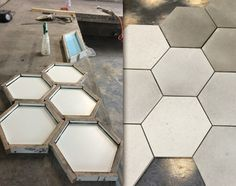 Lazenby Pre-cast Tiles do not have to be square. All pre-cast tiles are bespoke and made to order so the possibilities are endless. These hexagon tiles are an example what we can achieve. Concrete Tiles, Hexagon Tiles, Polished Concrete, Stair Treads, Bespoke, Tile Floor, It Cast, Flooring, Patterns