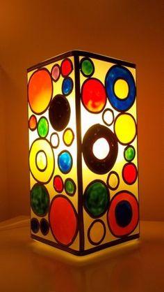 Pintura vitral lampara pintada a mano