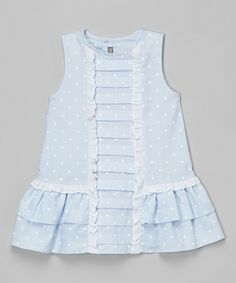 Les Petits Soleils by Fantaisie Kids Blue Polka Dot Pleated Dress - Infant, Toddler & Girls | zulily