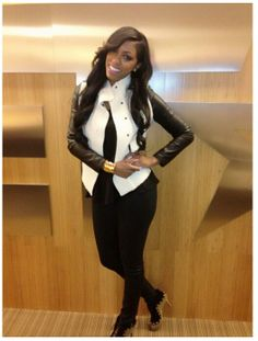 Porsha Stewart has pretty girl swag! Love the her style and jacket