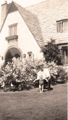 SHELBY TOWNSHIP — The Packard Proving Grounds — This photograph, taken in the summer of 1932, is from the Roberta Vincent Mocabee collection. Roberta is standing, with help from Jim Loucks, in front of her home, the Gate Lodge at the Packard Proving Grounds in Shelby Township.