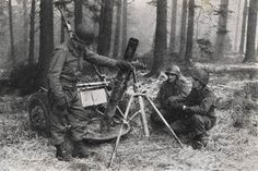 """""""Green Hell"""".The Battle of the Hürtgen Forest - Soldiers of the 60th IR,9th ID with a captured German 120-mm heavy mortar. Hurtgen Forest (Small)"""
