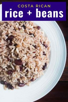 Easy Caribbean beans and rice recipe with coconut milk from southern Costa Rica. #Vegan #vegetarian Caribbean Rice And Beans, Caribbean Chicken, Coconut Rice And Beans, Rice And Beans Recipe, Bean Recipes, Rice Recipes, Vegetable Recipes, Easy Salads, Easy Meals