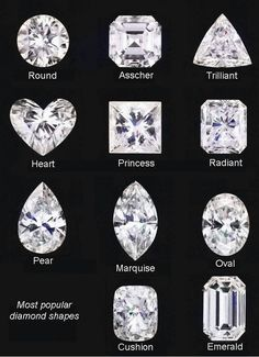 Most popular diamond shapes...love Cushion and Radiant