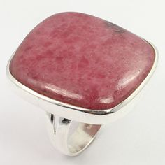 Elegant Ring Size US 8.75 Real RHODONITE Big Gemstone 925 Solid Sterling Silver #SunriseJewellers #Fashion
