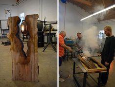 Geblasene Glasvase in einem Stück Holz geformt - die exklusive Scott Slagerman Studio Kollektion — Design-Interieur - innenarchitektur