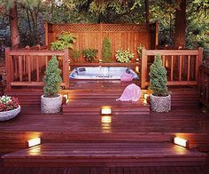Pools and Spas That Make a Splash An outdoor deck with an in-built Jacuzzi a great reason to spend winter nights outside! The post Pools and Spas That Make a Splash appeared first on Outdoor Diy. Outdoor Deck Lighting, Jacuzzi Outdoor, Porch Lighting, Jacuzzi Tub, Lighting Ideas, Stair Lighting, Hot Tub Gazebo, Hot Tub Deck, Deck Design