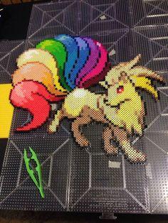 Rainbow Ninetails Pokemon XL perler bead by BeadsbyCKingGlory