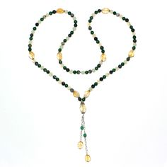 This 108-bead Jade, Citrine, and Agate mala is designed to stimulate abundance and prosperity in one's life with a focus on the Solar Plexus (3rd) and Heart (4th) chakras.
