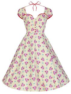 Lindy Bop 'Bella' Kitsch Vintage 1950's Style Garden Party Dress (L, Yellow Red Floral)