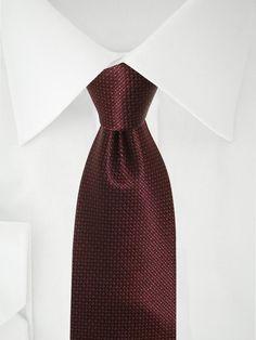 Cravate rouge foncé à pois marron chocolat