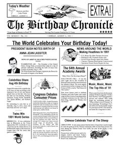 What Happened On My Birthday Party Decorations Digital Download - way cool. Send her the birthdate and year, you get a news paper of events from that day.