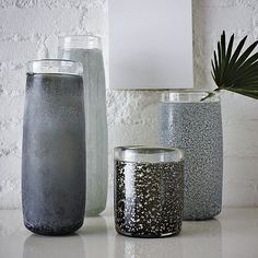Colored Cylinder Vases #WestElm.  Thinking about doing a grey bathroom.  These could look nice next to the sink.