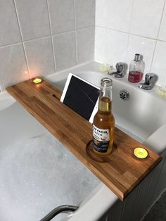 Bath caddy in solid oak by Forrestersworkshop on Etsy