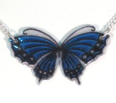 Sapphire and Navy Butterfly Shrinky Dink Necklace